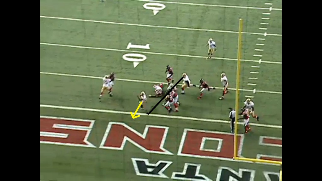 The dive back glides along the veer wall to the end zone