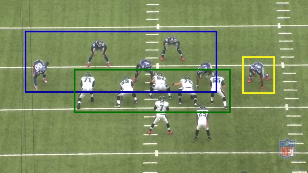 5 Eagles offensive linemen for 5 Giants defenders; the 6th defender (in the yellow box) becomes the option key.