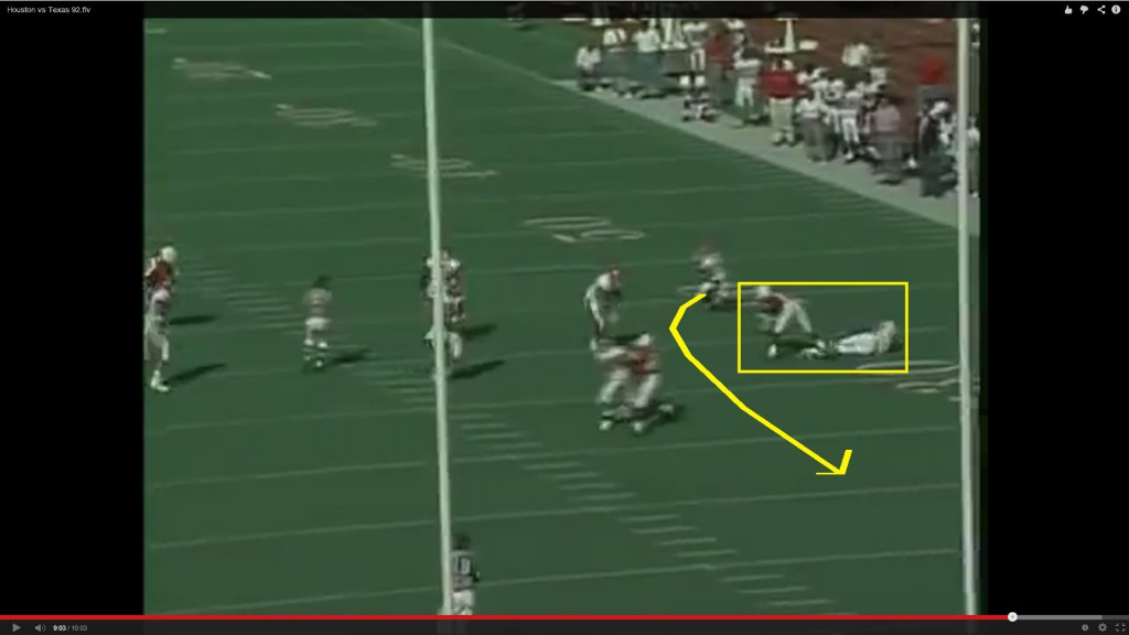 The left tackle gets just enough of the corner back on a cut block to give the wide receiver a clear lane to the inside