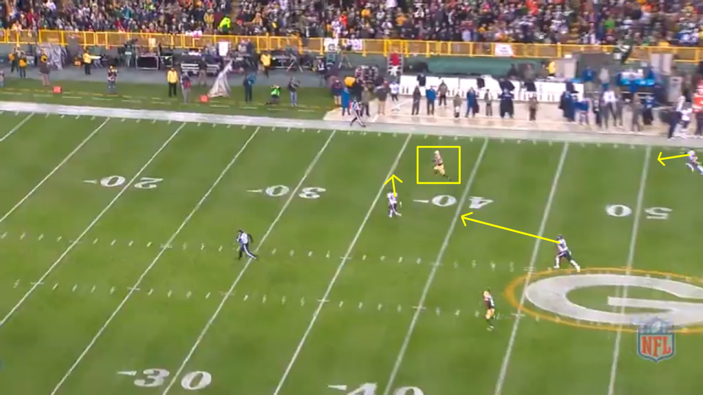Nelson catches the ball.  The free safety has not reacted from his deep middle zone, the cornerback trails from his cover 2 positioning, and the middle linebacker chases from his zone.