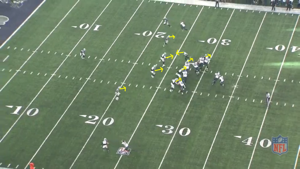 All 8 defenders in the Cowboys' front react towards the run fake.  Jordan Matthews, who will catch the touchdown pass, is moving in the other direction.