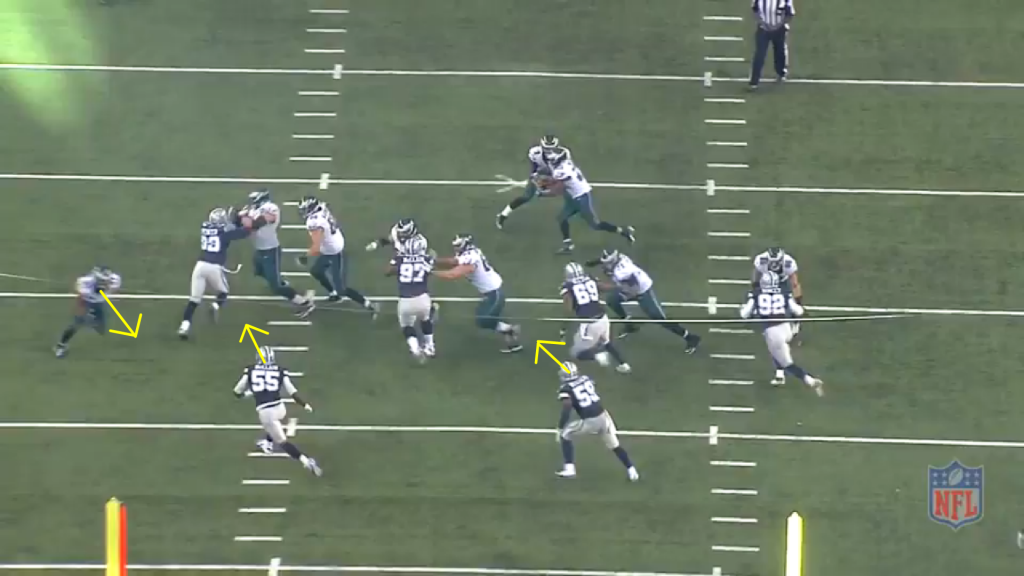 The tight view gives a closer look at linebackers in conflict.  Both box linebackers react towards the run, while Matthews is primed to sneak behind them.