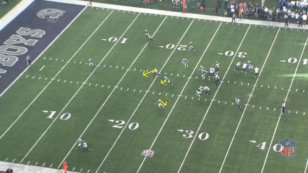 From a different angle, we see the space Matthews has as Sanchez breaks the pocket.