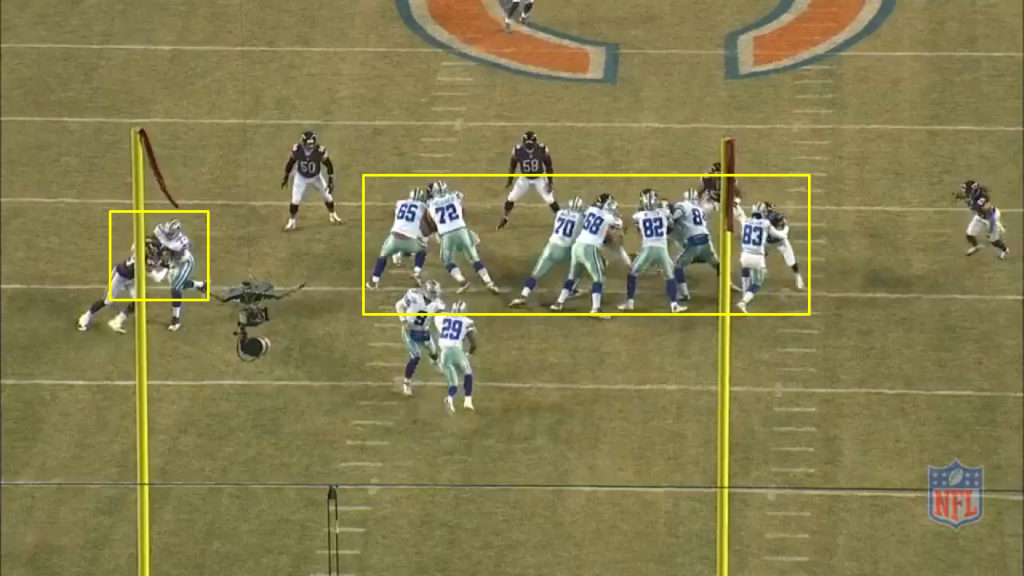 As Murray receives the inside zone hand off, his line covers up the Chicago defensive line