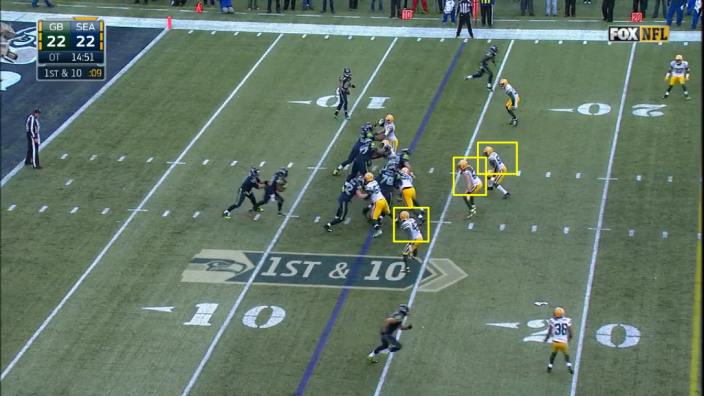 "On the first play of the drive, the Packers played the zone read well, the option key again eying Wilson with patience (but, again, this is also the purpose of the zone read, as Wilson has essentially ""blocked"" the defender). The play became a traditional zone run, and Lynch gains 4 yards."