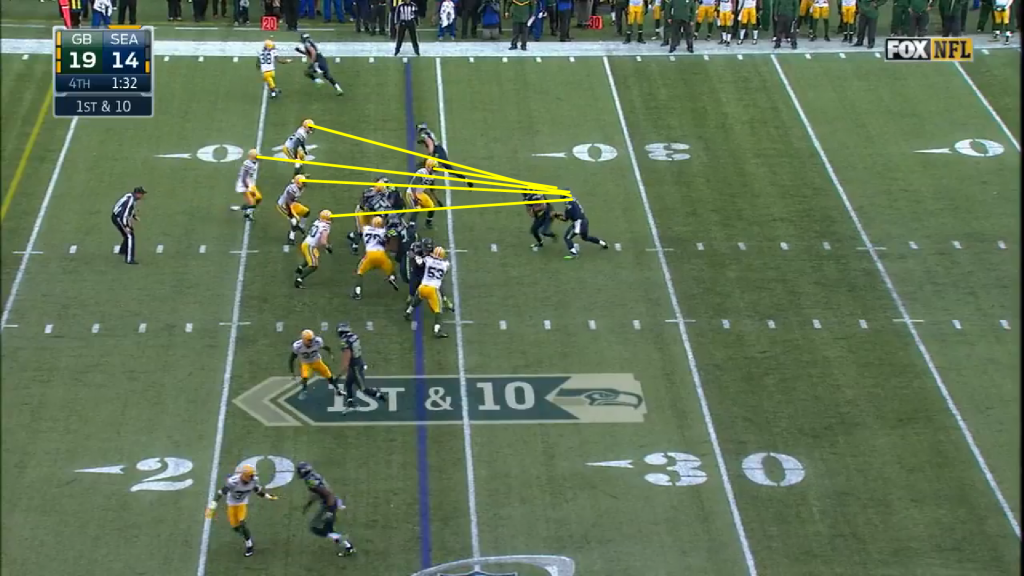 Two plays later, the Seahawks go to - you guessed it - the zone read.  Note all of the Green Bay eyes on Wilson as he carries out his fake.  Lynch exploits the ensuing opening for a 24 yard touchdown run.