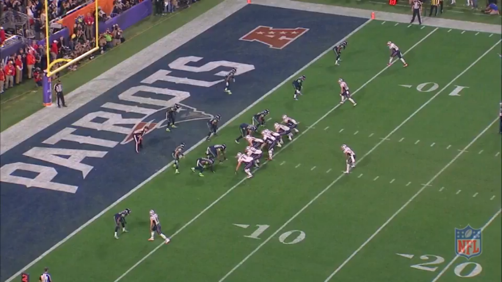 Three receiving threats to the right, and Edelman on the left, with plenty of space to work with to his right or left.